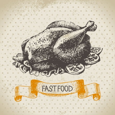 chicken grill: Vintage fast food background. Hand drawn illustration. Menu design