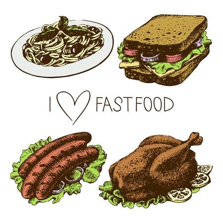 main dishes: Fast food set. Hand drawn illustrations  Illustration