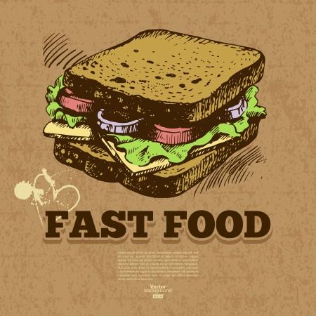 main dishes: Vintage fast food background. Hand drawn illustration. Menu design