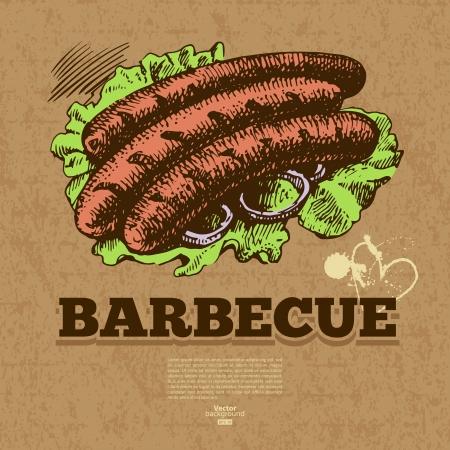 main dishes: Fondo de comida r�pida vintage. Dibujado a mano ilustraci�n. Dise�o del men�