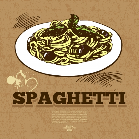 spaghetti: Vintage fast food background. Hand drawn illustration. Menu design