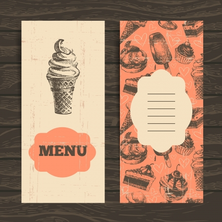 eating ice cream: Menu for restaurant, cafe, bar, coffeehouse. Vintage  background with hand drawn illustration