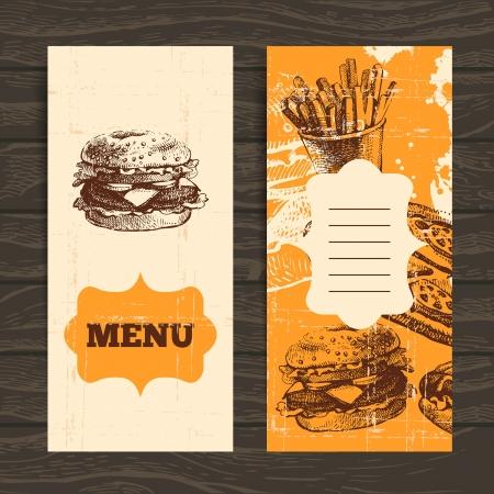 main dishes: Men� para el restaurante, caf�, bar, cafeter�a. Fondo de la vendimia con la mano dibujada ilustraci�n