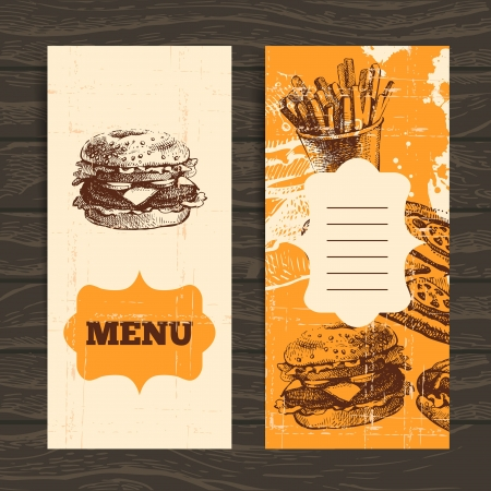Menu for restaurant, cafe, bar, coffeehouse. Vintage  background with hand drawn illustration Stock Vector - 21531662