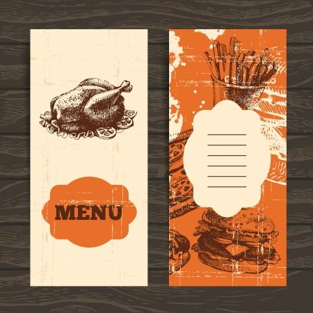 chicken salad:  Menu for restaurant, cafe, bar, coffeehouse. Vintage  background with hand drawn illustration