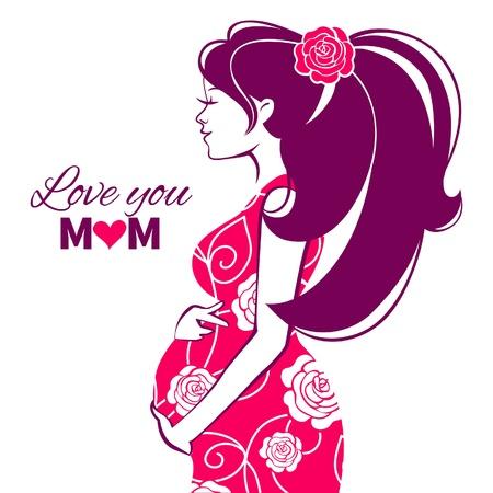 임신 여성의 아름다운 실루엣 일러스트