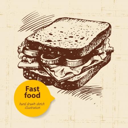 bocadillo: Fondo de comida r�pida vintage. Dibujado a mano ilustraci�n. Dise�o del men�