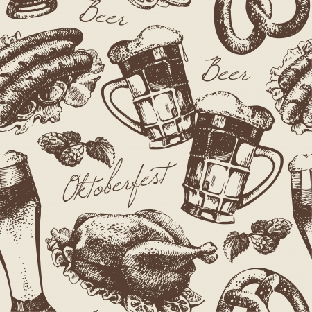 beer festival: Oktoberfest vintage seamless pattern. Hand drawn illustration
