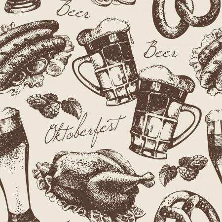 bier festival: Oktoberfest vintage seamless pattern. Hand drawn illustration