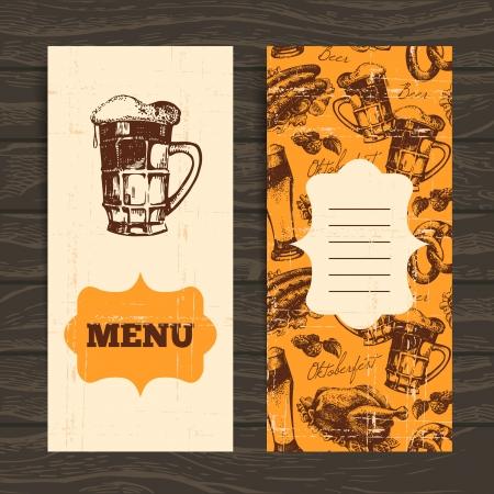 cafe bar: Menu voor het restaurant, cafe, bar. Oktoberfest vintage achtergrond. Hand getrokken illustratie. Retro design met bier Stock Illustratie