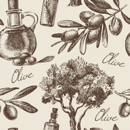 sauces: Vintage olive seamless pattern. Hand drawn illustration