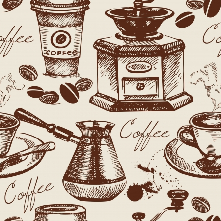 Vintage coffee seamless pattern. Hand drawn illustration Vector