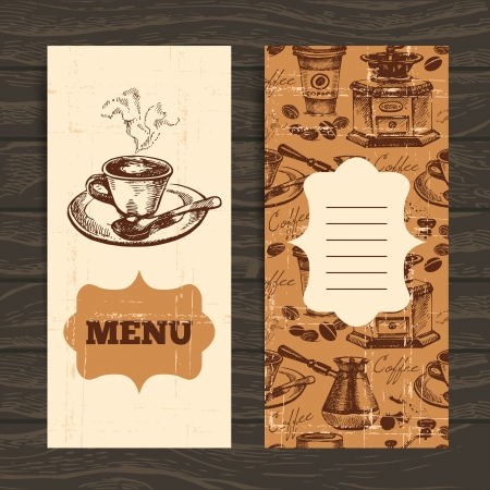 vintage cafe: Hand drawn vintage coffee background. Menu for restaurant, cafe, bar, coffeehouse