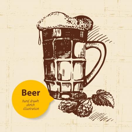 fall festival: Oktoberfest vintage background. Hand drawn illustration. Retro design with beer