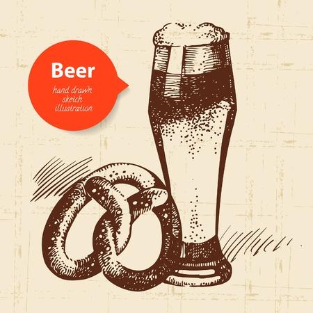 german beer: Oktoberfest vintage background. Hand drawn illustration. Retro design with beer