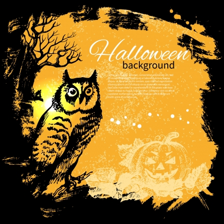 Halloween background. Hand drawn illustration Vector