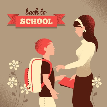 Vintage silhouette of teacher and student. Back to school illustration Vector