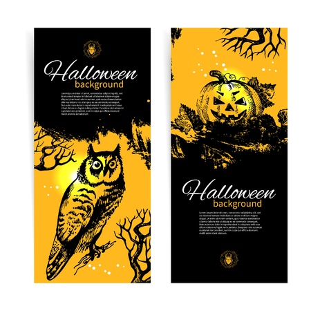 Set of Halloween banners. Hand drawn illustration Vector