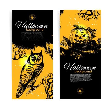 snag: Set of Halloween banners. Hand drawn illustration Illustration
