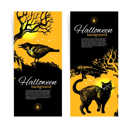 scary hand: Set of Halloween banners. Hand drawn illustration Illustration