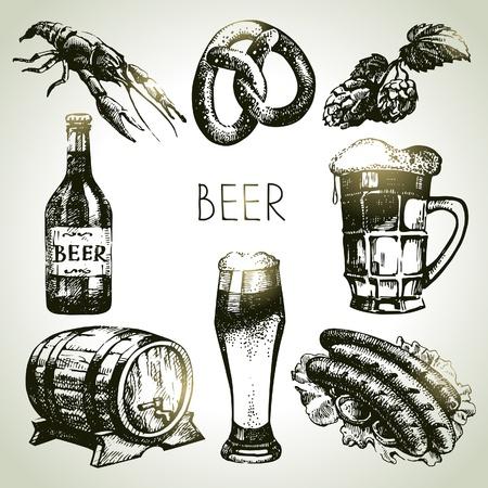 オクトーバーフェスト ビールのセットです。手描きイラスト  イラスト・ベクター素材