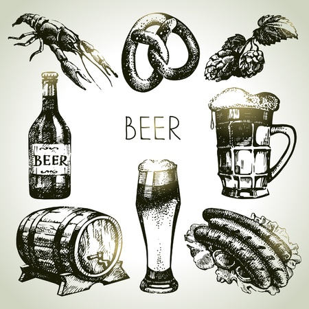 Oktoberfest set of beer. Hand drawn illustrations  Vector