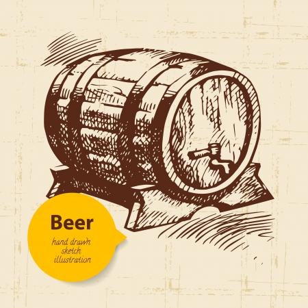 german beer: Oktoberfest vintage background. Hand drawn illustration  Illustration