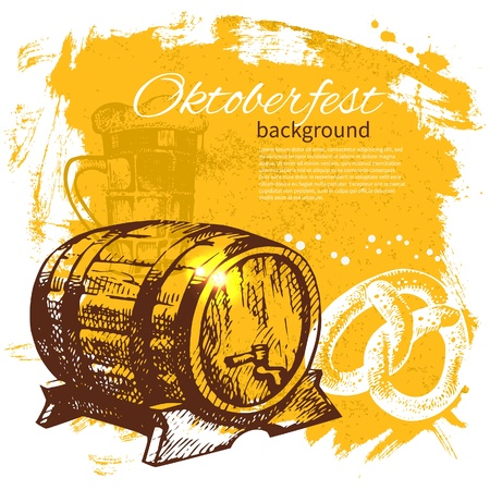 beer fest: Oktoberfest vintage background. Hand drawn illustration. Beer splash blob retro design menu
