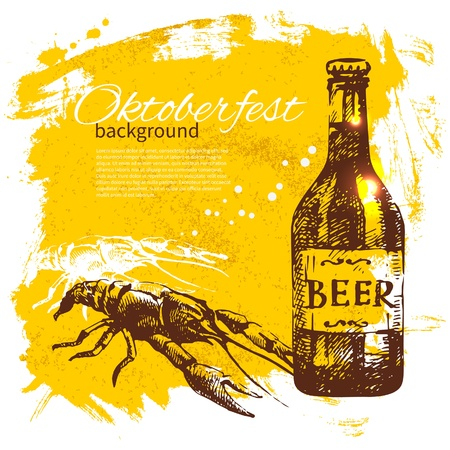 Oktoberfest vintage background. Hand drawn illustration. Beer splash blob retro design menu Stock Vector - 21532023