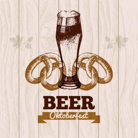 octoberfest: Oktoberfest fondo de la vendimia. Dibujado a mano ilustraci�n de cerveza. Dise�o del men�