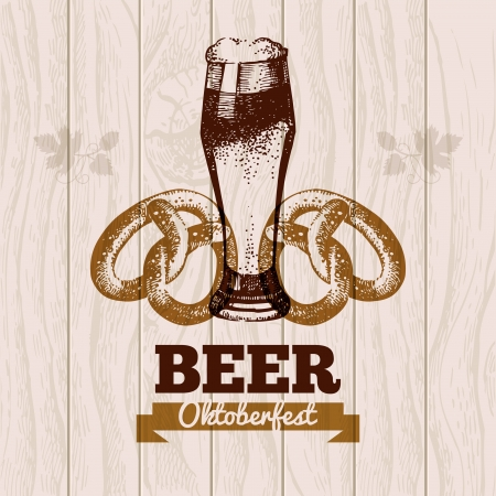 fest: Oktoberfest vintage background. Beer hand drawn illustration. Menu design