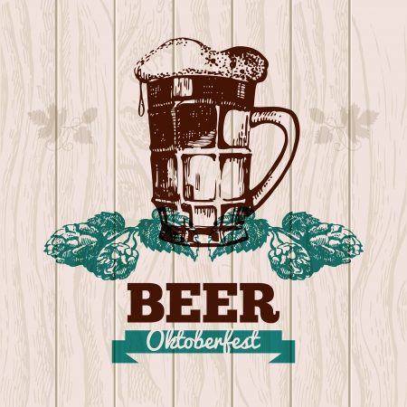wooden barrel: Oktoberfest vintage background. Beer hand drawn illustration. Menu design Illustration