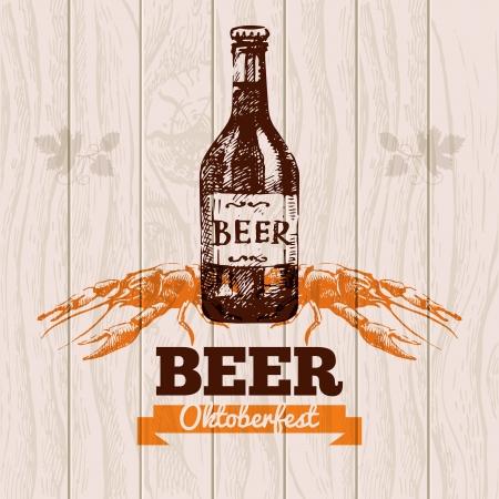 hops: Oktoberfest vintage background. Beer hand drawn illustration. Menu design Illustration