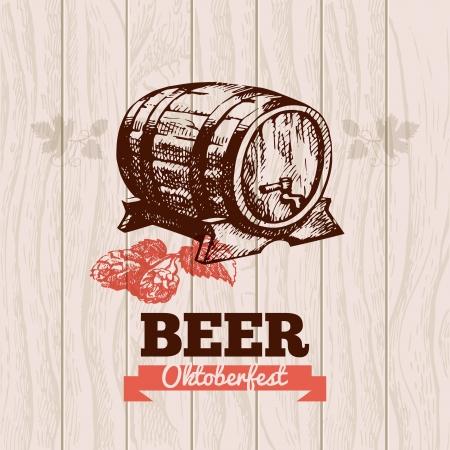 wood barrel: Oktoberfest vintage background. Beer hand drawn illustration. Menu design