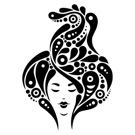 tattoo face: Beautiful woman silhouette, black & white illustration