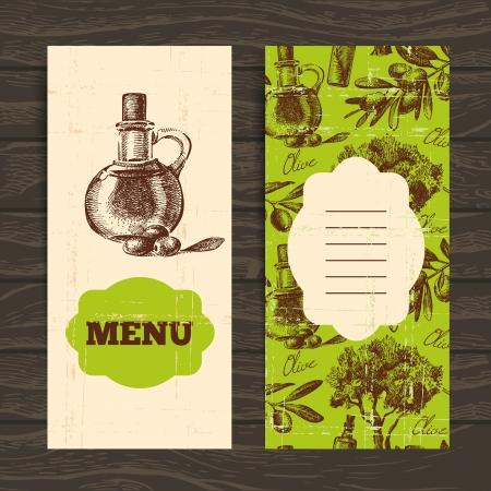 olive oil bottle: Menu for restaurant, cafe, bar. Olive vintage background. Hand drawn illustration