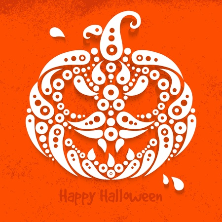 Halloween pumpkin. Decorative pattern silhouette of pumpkin