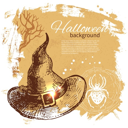flying hat: Halloween background. Hand drawn illustration
