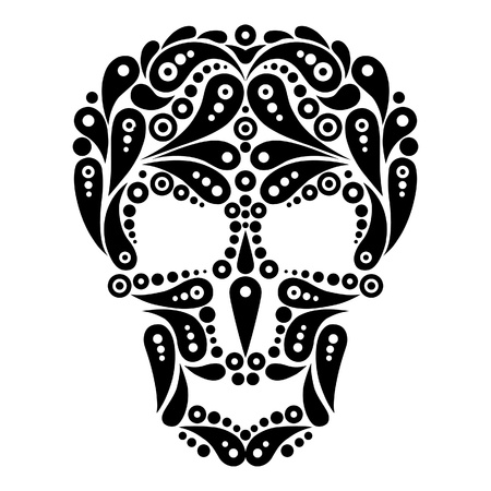 sugar skull: Ornate tattoo skull  Illustration