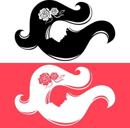 rose silhouette: Set of beautiful girl silhouette Illustration