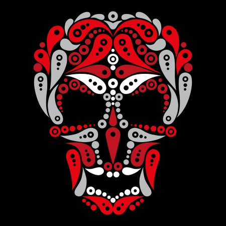 Ornate tattoo skull  Illustration