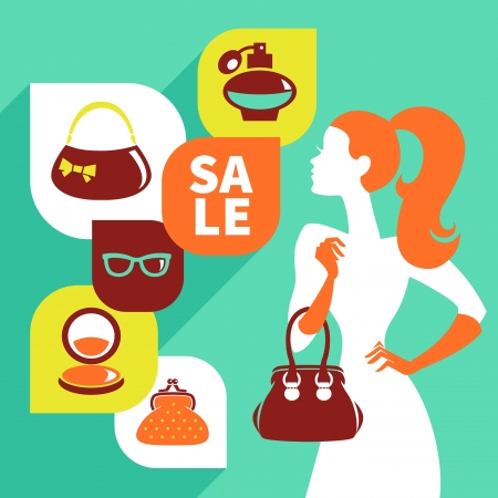 infogaphics: Beautiful woman silhouette with shopping icons. Stylish sale flat design