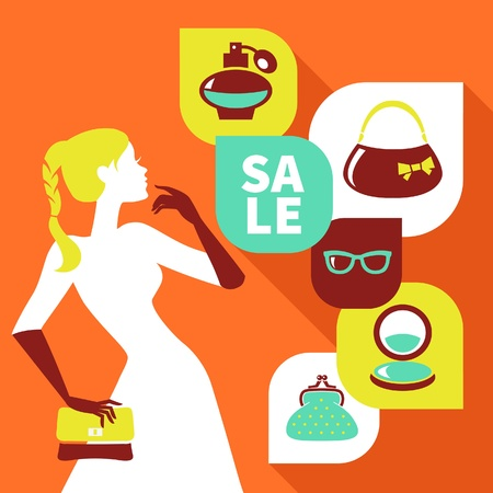 Beautiful woman silhouette with shopping icons. Stylish sale flat design  Vector