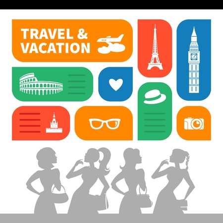 Travel and vacation shopping background.  Beautiful girl silhouettes and  flat design with travel icons Vector