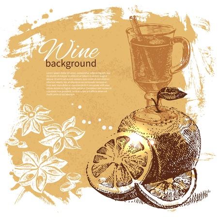 Mulled vintage background. Hand drawn illustration Stock Vector - 21709791