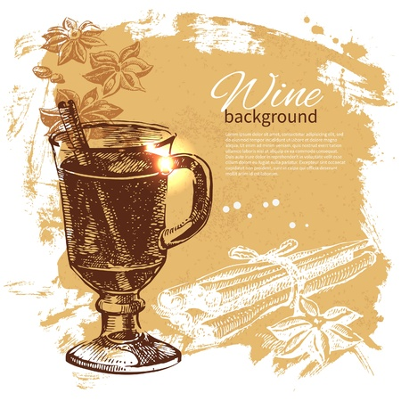vin chaud: Chauffé de fond vintage. Illustration tirée de main Illustration