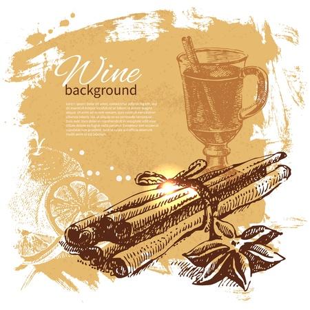 Glühwein Vintage Hintergrund. Hand gezeichnete Illustration Vektorgrafik