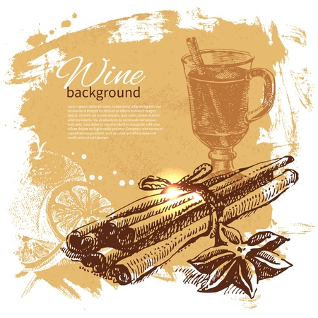 stick of cinnamon: Mulled vintage background. Hand drawn illustration