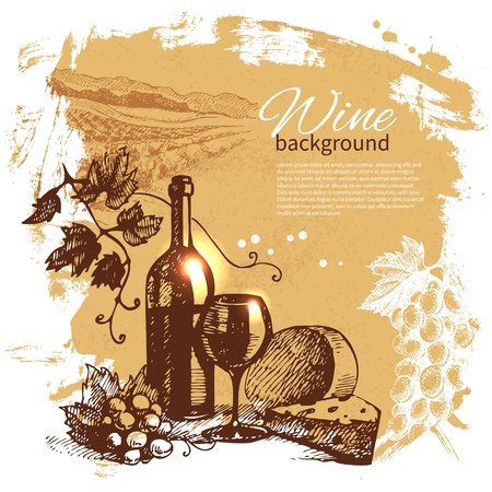 food and wine: Wine vintage background. Hand drawn illustration. Splash blob retro design