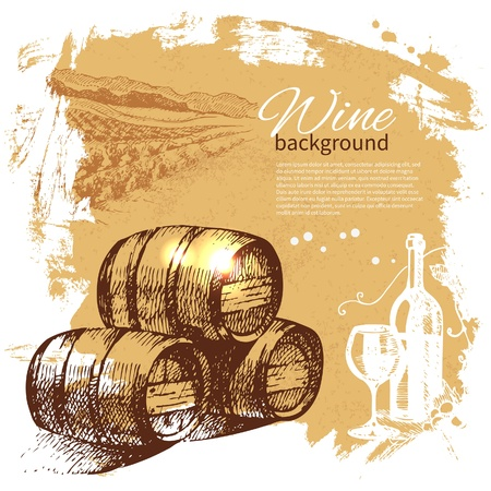 wine and cheese: Wine vintage background. Hand drawn illustration. Splash blob retro design